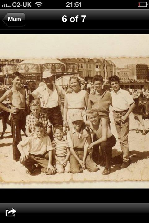 On the left is with Len Downton who owned the donkeys he is the one with the baseball cap on.This photo was taken in 1958 I am the one kneeling down in the front on the right with fair hair,I was 13 at the time.I am now nearly 74 so many years ago.